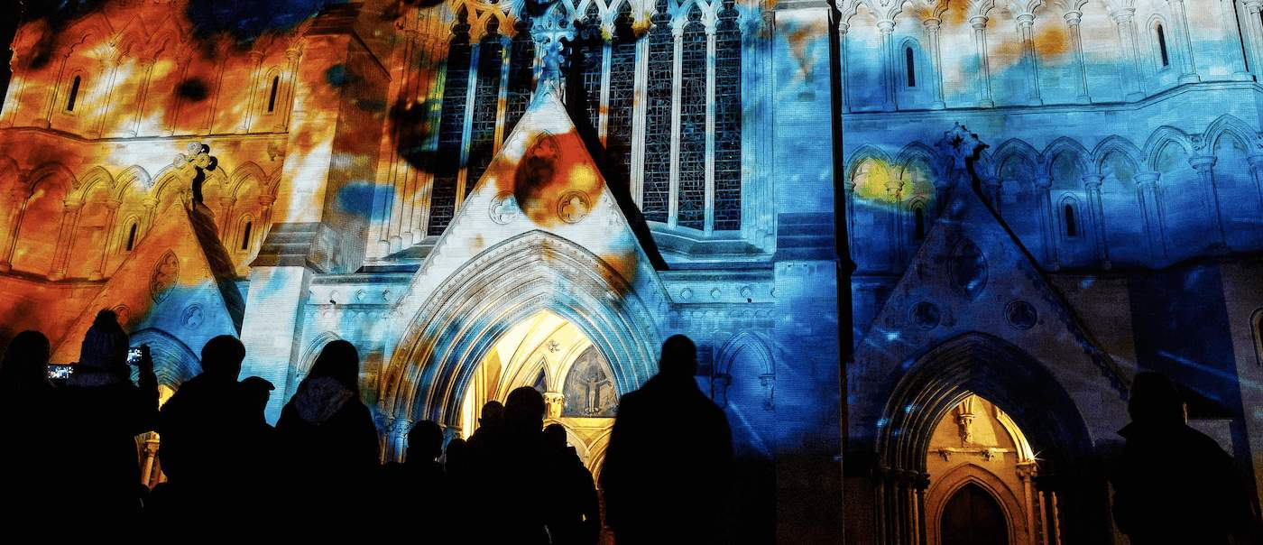 Light shows at cathedrals