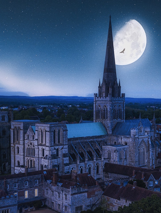 Chichester Cathedrals at Night October 2020