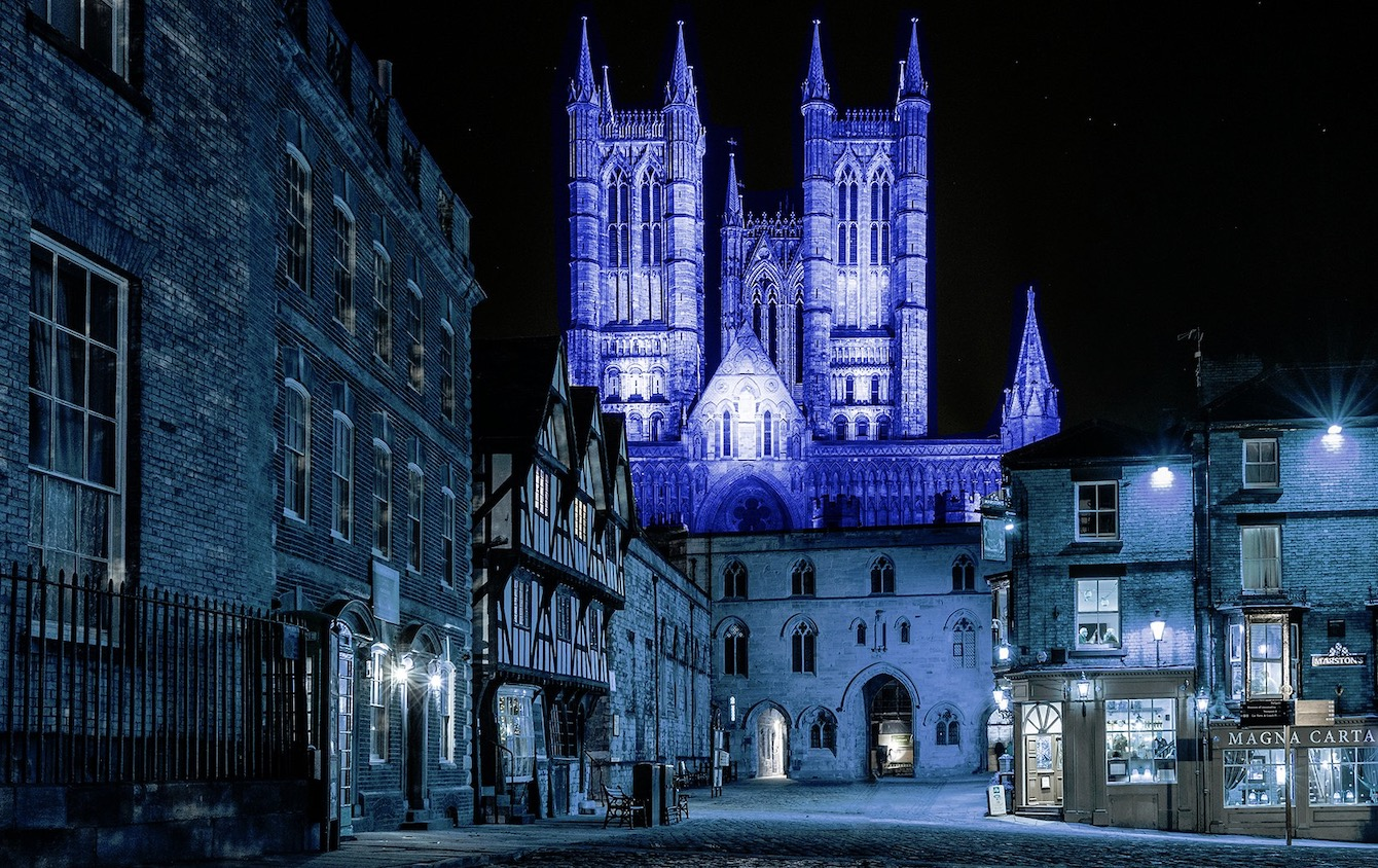 Lincoln Cathedral Turns Blue