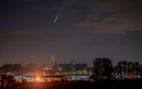 image from Neowise Comet over English Cathedrals